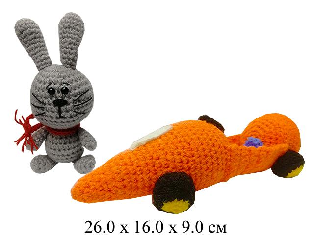 Зайка в машине-морковке мягк. 26 см (ручная работа)