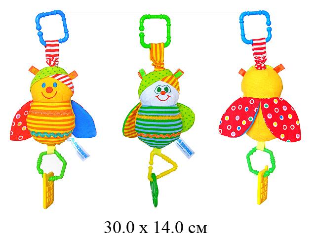 """Игрушка  - подвеска - погремушка - пчелка Жужа с прорезывателем """"Мякиши"""" на карт."""
