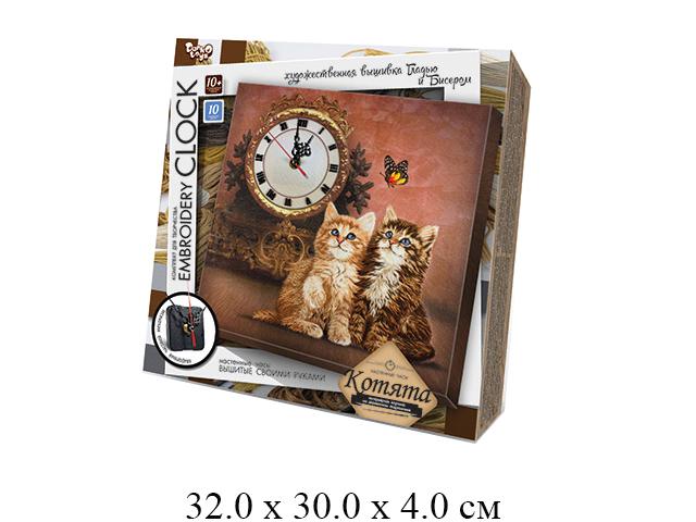 """""""Н/для твор-ва - часы настен., вышивка гладью и бисером , Котята """"Embroidery clock"""" EC-01-03 """"Данко"""""""