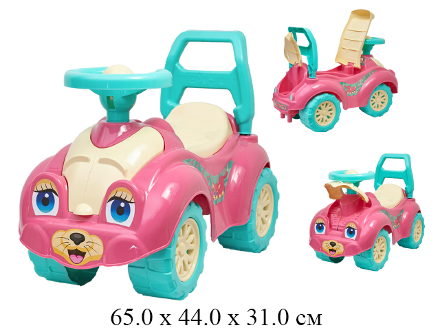 """Автомобиль - каталка розовый с глазками, в пак. """"Технок"""""""