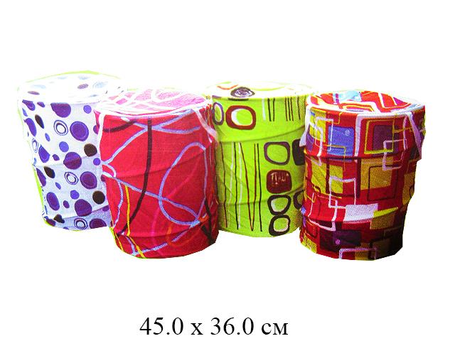 Корзина д/игрушек  круглая плотн. 45 х 36 см материал хлопок, крышка на молнии с ручками (6 видов)