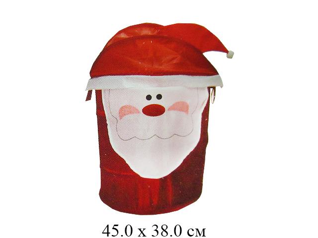 Корзина д/игрушек Дед Мороз голова - крышка 38 х 45 см