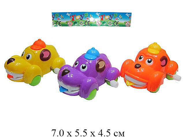 *Игрушка в пак. для малышей  - машинка заводн. с языком 5.5 Х 7 см (4 цвета)