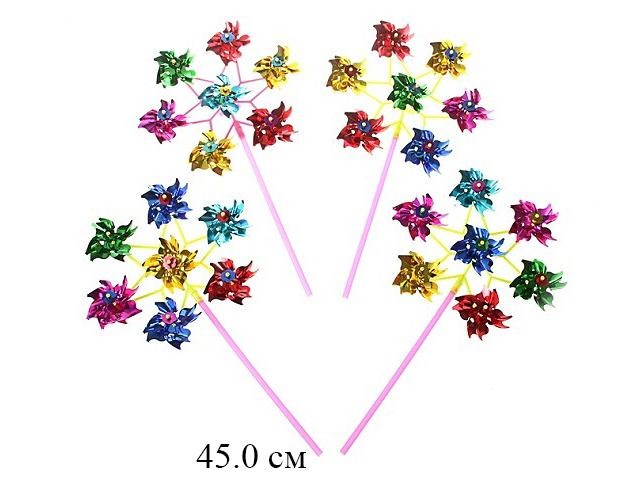 Вертушка 8 цветочков длина палки 28 см (3 цвета) в пак.