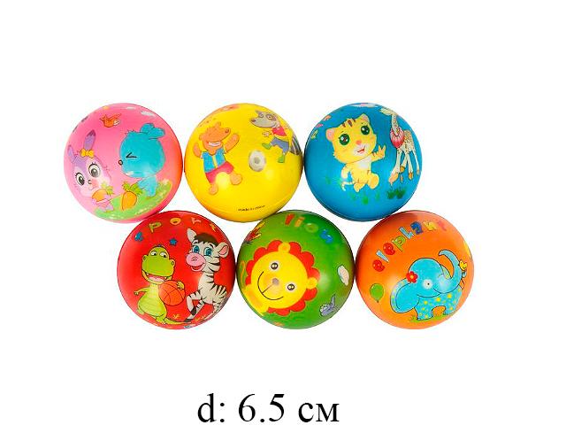 Мяч мягк. рис.животные 6,3 см  6 цв.12 шт в пак