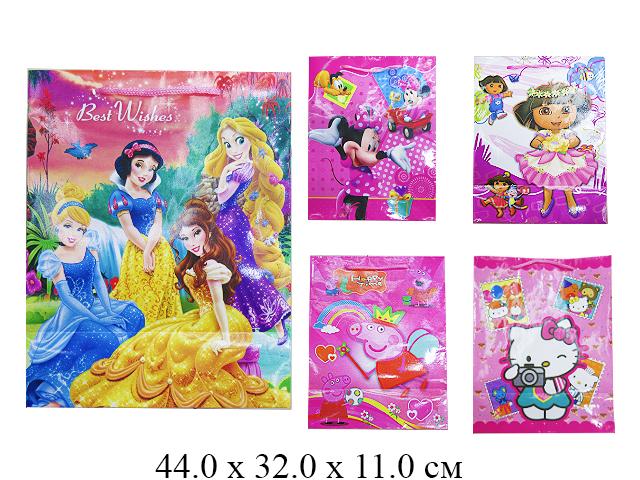 Пакет подарочный рис. д/девочек (4 вида) 44 х 32 х 11 см