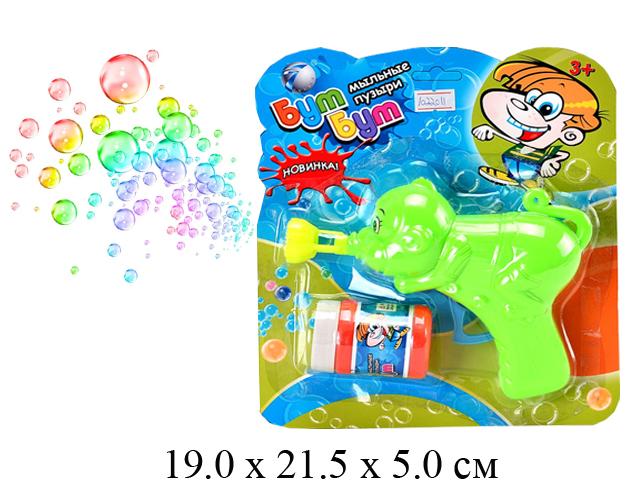 """**Пистолет с мыльными пузырями - животное """"Бум Бум"""" (4 цвета) на карт. Tongde 6110A"""