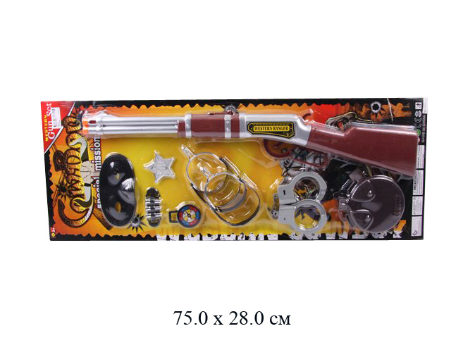 Н/ковбоя (ружье, маска, наручники, стремена, фляга) на карт. 6864-2