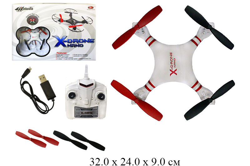 *Р/у вертолет X-Drone Nano с гироскопом (свет) в кор. H107