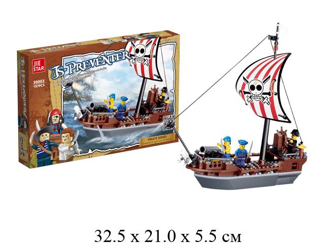 Конструктор - пиратский корабль + пираты (197 дет.) в кор. Jie Star 30003