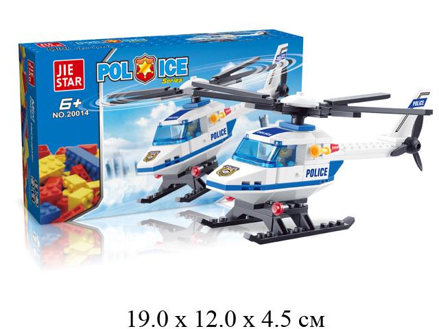 Конструктор - вертолет полиц. с пилотом (71 дет.) в кор. Jie Star 20014