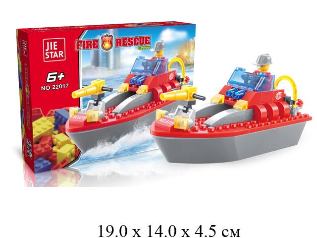Конструктор - катер пожарн. + фигурка Fire Rescue (92 дет.) в кор. Jie Star 22017