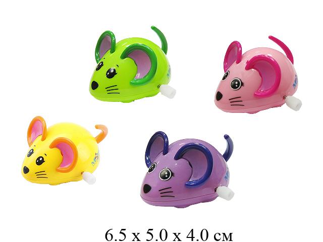 *Игрушка для малышей в пак. - мышка завод. (3 цвета) 6616