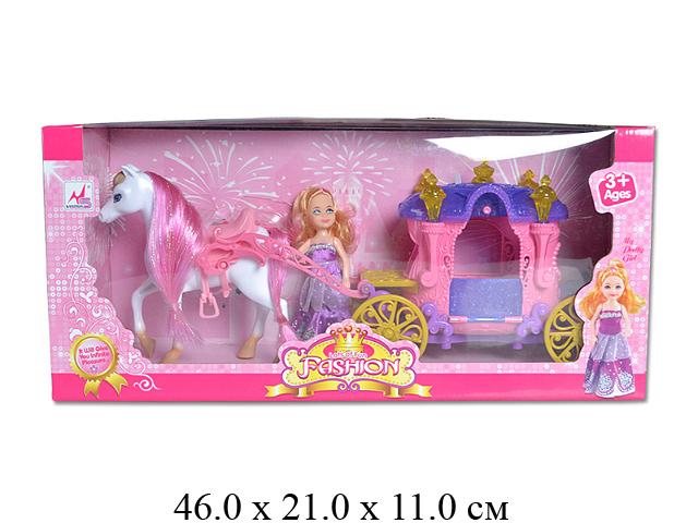 Карета с лошадью, на бат. (свет, музыка) + куколка в кор. 05016