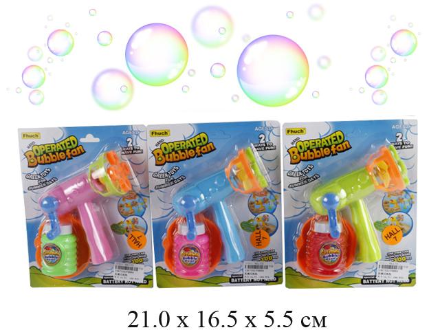Пистолет с мыльными пузырями (3 цвета) на карт. FH884