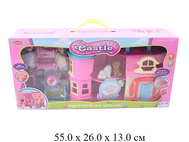 Дом для куклы на бат. (свет, мелодия) с мебелью + 2 шт. пупсика + кошка + собачка (2 вида) в кор. SD
