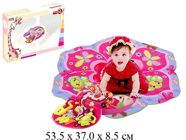 Коврик для малыша с погремушками, с подушкой, рис. парк в кор. 023-2C