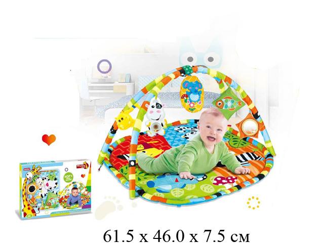 Коврик для малыша, с погремушками рис. животные в кор. 023-25