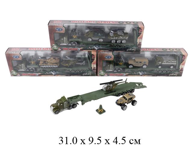 Н/трейлер + 2 шт. техники металл., воен., своб. кат. (3 вида) в кор. MZ831