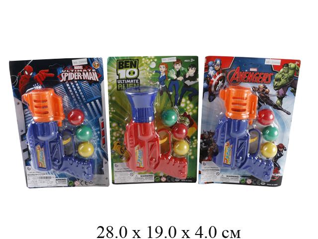 Пистолет стрел. шариками (2 цвета) на карт. 2089AB