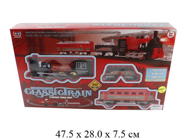 Ж/д (паровоз на бат. (свет, звук, дым), 2 вагона) в кор. 227