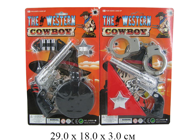 Н/ковбоя (пистолет, фляга) на карт. JH668-1