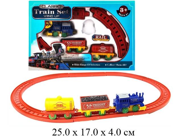 Ж/д (паровоз заводной, 2 шт. вагона) в кор. YN807-6