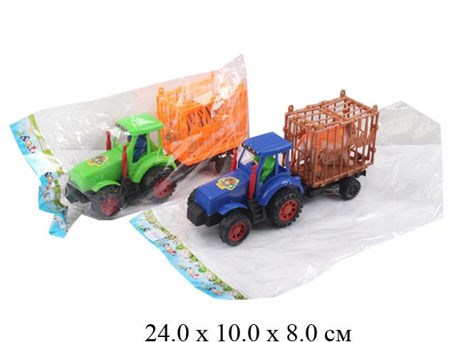 Трактор фрикц. с прицепом + тигр (3 цвета) в пак. 099-8