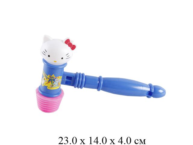 Молоток - пищалка с головой кошки  в пак. 383-1