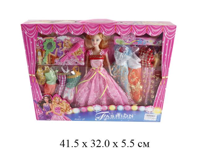 Кукла гнущ. + платья (3 вида) в кор. B813-13