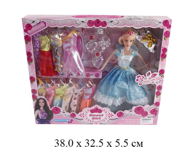 Кукла гнущ. + платья + аксессуары (2 вида) в кор. 9272F