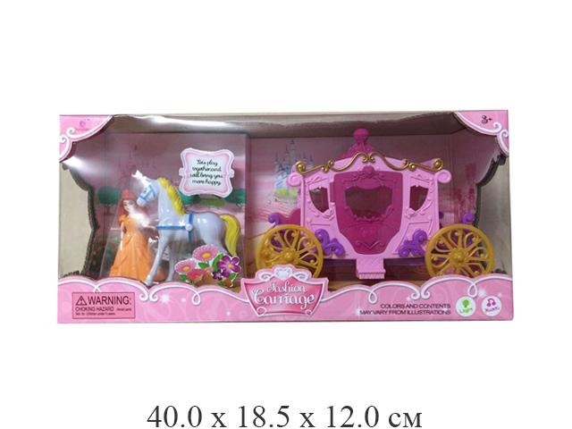 Карета с лошадью + куколка в кор. SS015B