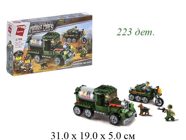 """Конструктор военн. машина+мотоцикл  """"Combat zone"""" в кор. 1706 Brick (Qman)"""