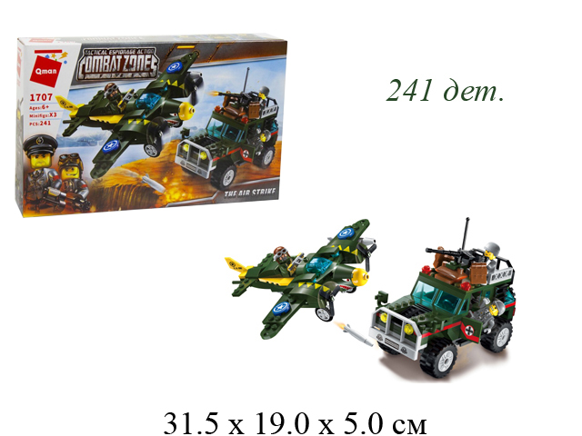 "Конструктор военн. машина+самолет ""Combat zone"" в кор. 1707 Brick (Qman)"