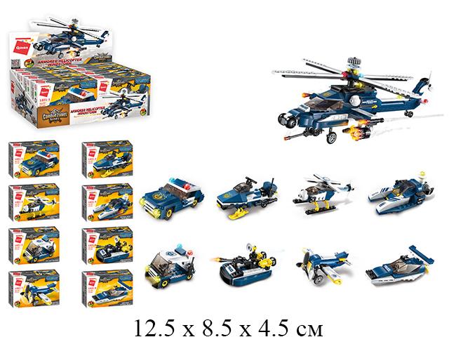 Конструктор  полиц. техника в кор. в диспл. 8 видов  49 дет.1801 Brick (Qman)