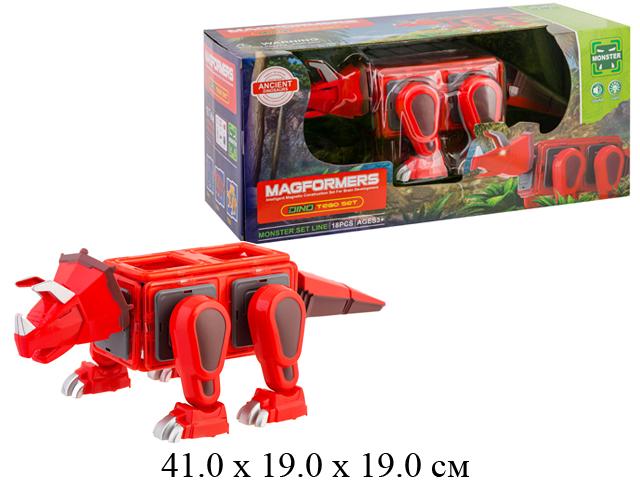 Конструктор магнитн.динозавр   в кор. свет,звук LQ623