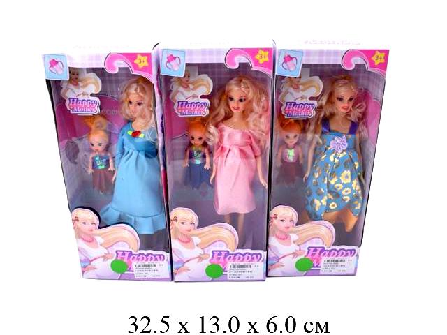 Кукла гнущ.беременная  +пупсик в кор. 3 вида 858A1