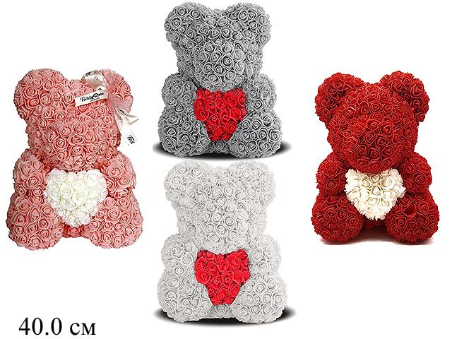 Медведь  из роз с сердцем 40см 4 цв:белый,персик,серый,бордовый в пак.