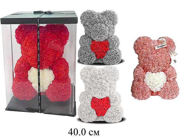 Медведь  из роз с сердцем 40см 4 цв:белый,персик,серый,бордовый в кор.