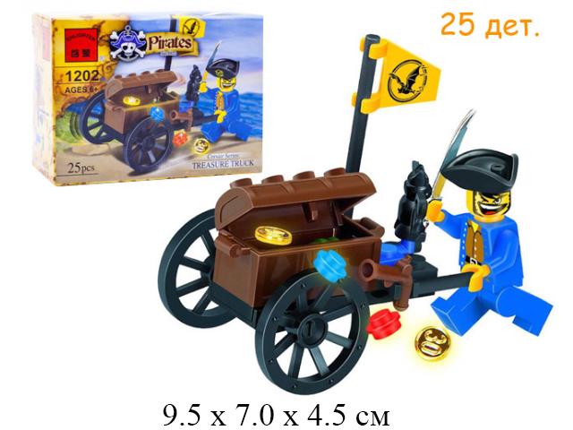 Конструктор - пираткий сундук на тележке 1202 Treasure Truck (25 дет.)  в кор.Shifty (Brick)