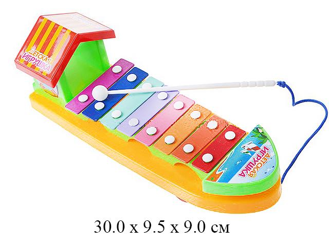 """Ксилофон - каталка с домиком 3036 """"Детская игрушка"""" в пак. 2"""