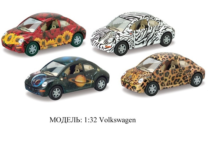 Модель 1:32 Volkswagen New Beetle с рисунком  в диспл. Kinsmart