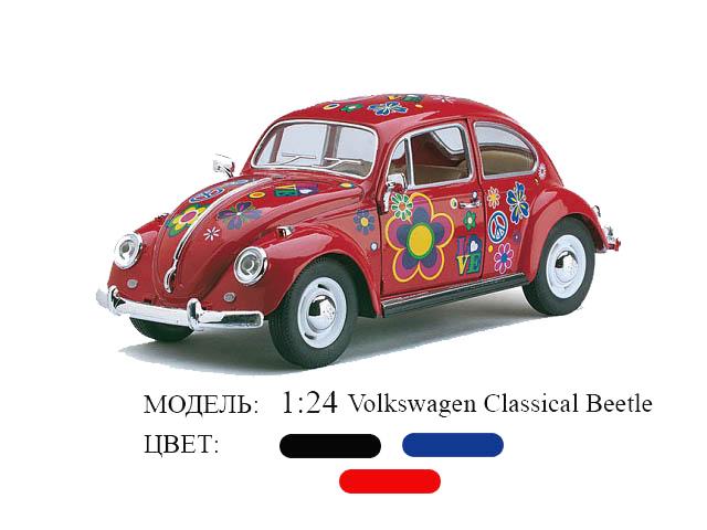 Модель 1:24 Volkswagen Cla4ical  Beetle рис. цветы в диспл. Kinsmart