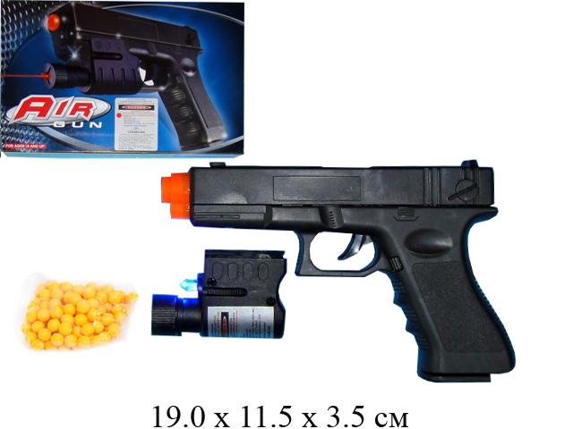 Пистолет пнев./пруж. (лаз. прицел, подсветка) в кор.