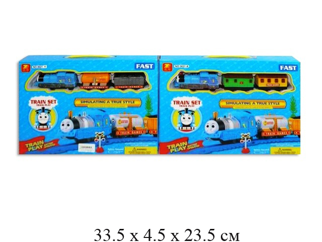 """Ж/д на бат. (паровоз + 2 вагона) """"148"""" (2 вида) в кор. 3621A/3621B"""