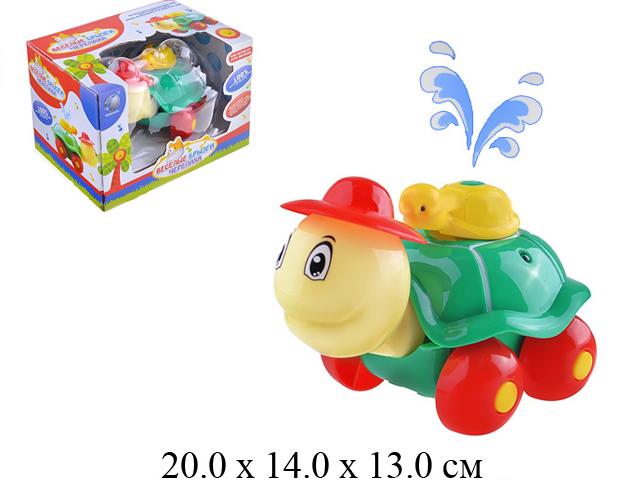 Веселые брызги -черепаха - каталка на бат. (свет, разбрызгивает воду) в кор.  BA3001 Tongde