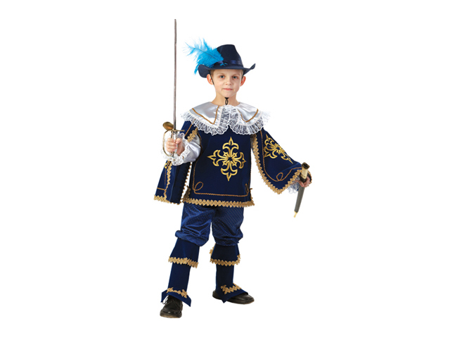 910 Карнавальный костюм Мушкетер Короля син р-р34