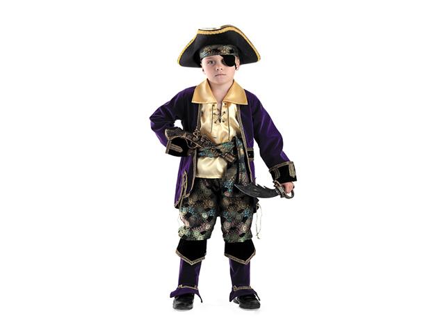 924 Карнавальный костюм Капитан пиратов лиловый ШЛЯПА+САБЛЯ+МУШКЕТ р-р 38