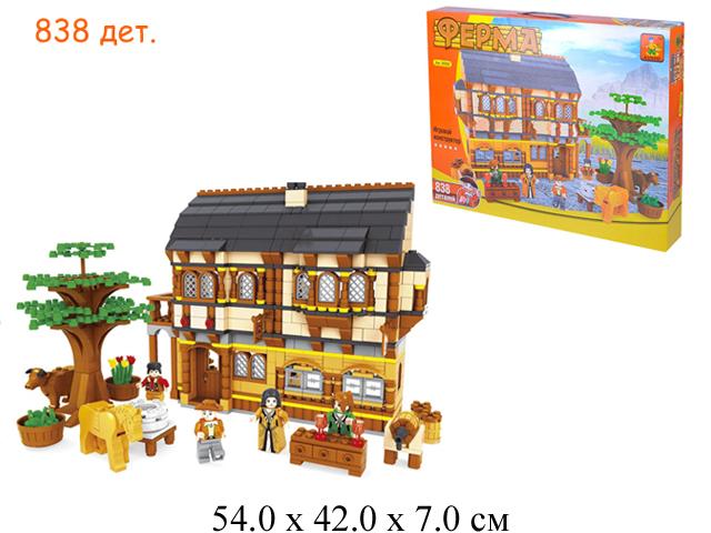 """Конструктор """"Ферма"""" - дом + животные (838 дет.) в кор. Ausini"""