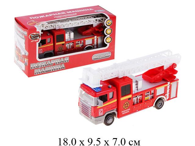 Машина пожарная металл., инерц. на бат. (свет, звук)  в кор. Play Smart